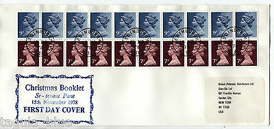 """GB Stamps 15-11-1978 £1.80 """"Christmas Booklet Pane"""" First Day Cover"""