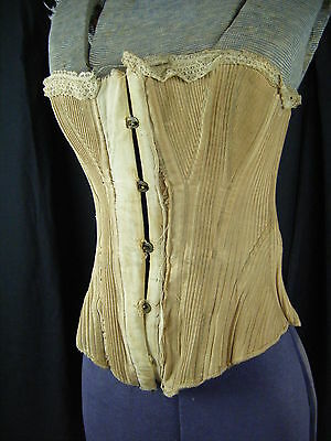 Antique 1800s Victorian & Older Cotton Made Laced Boned Corset,RARE!