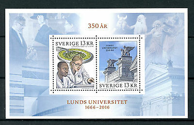 Sweden 2016 MNH Lund University 350 Years 2v M/S Education Universities Stamps