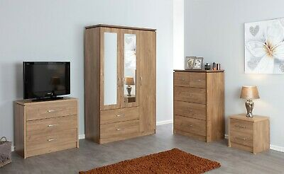 Charles Modern Oak | Large 3 Door Mirrored Wardrobe | 2 Drawer Bedside Cabinet