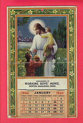 Rare Calendar 1932  With Holy Picture of Jesus with 3 children's