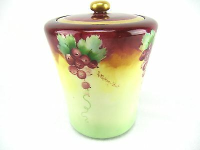Willets Belleek Hand Painted And Signed  Lidded Jar - C 1910
