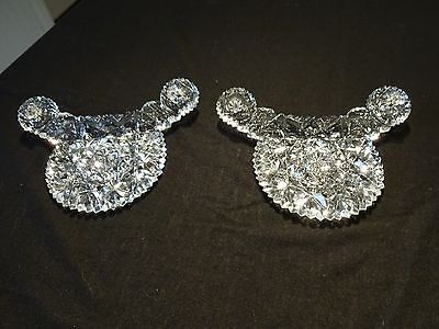 Vtg Antique Pattern Glass Dresser Tray Handles Pressed Cut Crystal Elegant