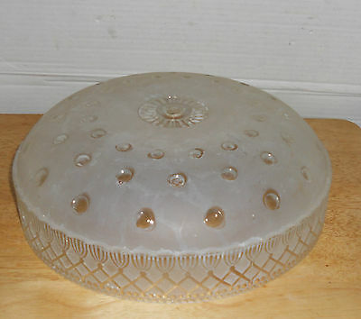 Vintage Art Deco Heavy Cut Glass Light Fixture Shade Cover Frosted/Clear