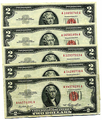 Lot Of 5 1953A $2.00 United States Red Seal Legal Tender Notes