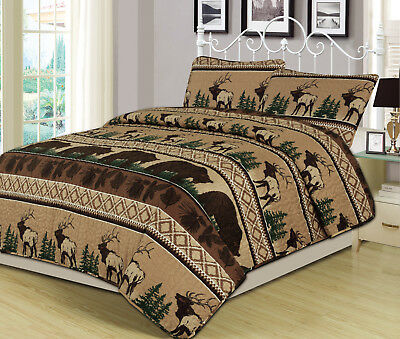 King, Queen, or Twin Quilt Bed Set Comforter Bear Elk Log Cabin Lodge Rustic