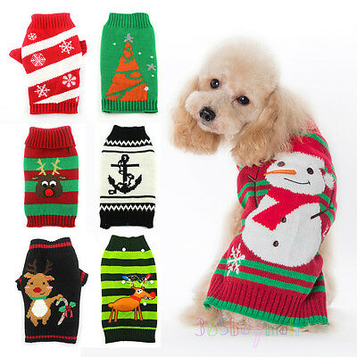 Christmas Holiday Ugly Dog Sweater Reindeer Snowman New Year Xmas Pet Clothes
