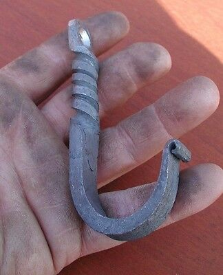 Wrought Iron,Twisted,Single Wall Hook Hanger, Hand Forged by Blacksmiths