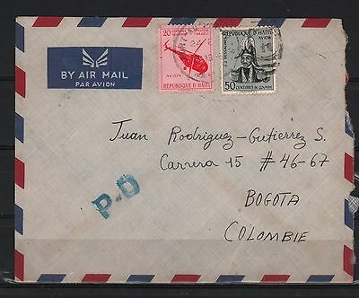 Haiti 1956 Cover To Bogota J J Dessalines Founder & Helicopter Cyclone Hazel