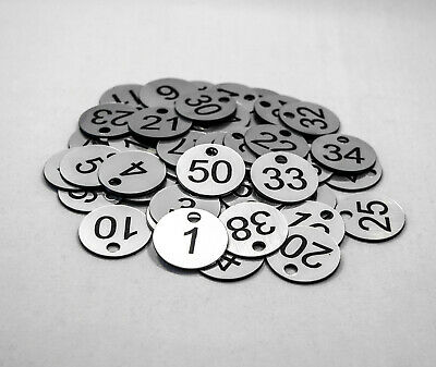 Set of 50x3cm Laser Engraved Number Discs, Restaurant, Clubs, Tags, Locker, Pub