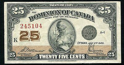 1923 25 Twenty Five Cents Dominion Of Canada Banknote Extremely Fine