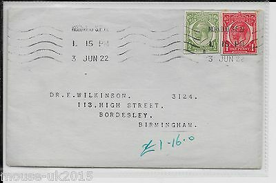 GB 1922 1½d CUT - OUT COVER 3.6.1922