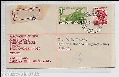 PAPUA FIRST ISSUE COVER 1/3½ Rate chimbu regD label.
