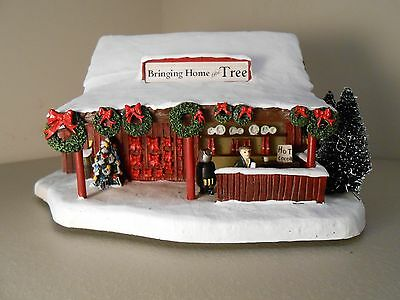 Norman Rockwell Bringing Home the Tree Stand Christmas Village Collection 2005