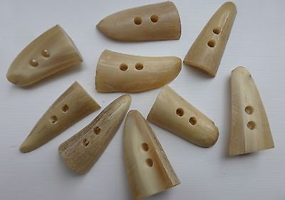 9 Genuine Real Horn 1/2 Round Toggles/Buttons. Two Hole  Size M. Col. Ivory