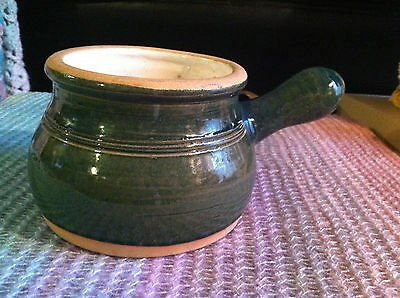 Rowe Pottery Works Green Crock With Handle