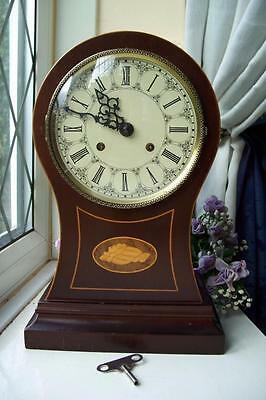 Lovely Vintage Hermle Mahogany Inlaid Twin Bell Balloon Mantle Clock