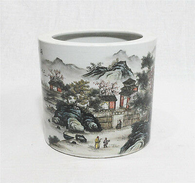 Chinese  Famille  Rose  Porcelain  Brush  Pot  With  Mark    M45