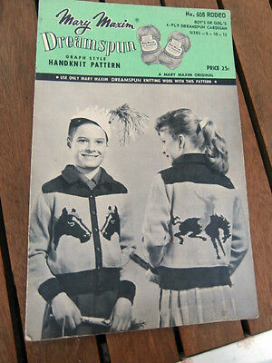 Vtg Mary Maxim Graph Style knit sweater pattern Rodeo 608 child size 8-12