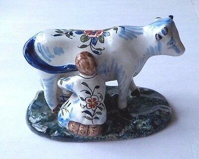 C19Th Desvres French Faience Copy Of C18Th Delft Milkmaid Milking A Cow