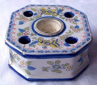 C19Th Angouleme French Faience Inkwell A/f