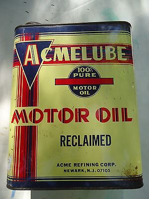 Vintage Acmelube Reclaimed Motor Oil 2 Gallon Tin Can