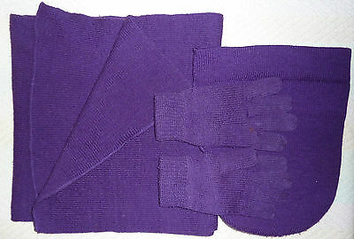 Purple Scarf Hat and Gloves