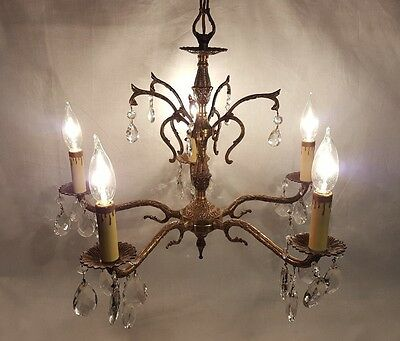 Vintage Brass & Bronze Prism Chandelier 5 Arm Lights Large Crystal Ceiling Light