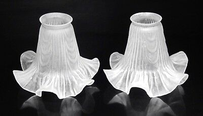 Pair of Vintage French Frosted Glass Lamp,  Ceiling Shades, Ruffled Edges