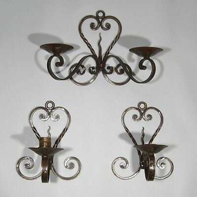 "3 Vintage French Wrought Iron Sconces, ""Ferronerie"" Style, 1920's French Riviera"