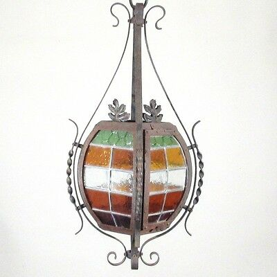 Antique French Wrought Iron Chandelier Lantern Green Orange Color Stained Glass