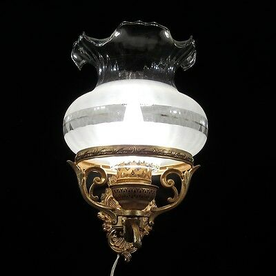Vintage French Gilded Metal Sconce with Frosted Glass Shade