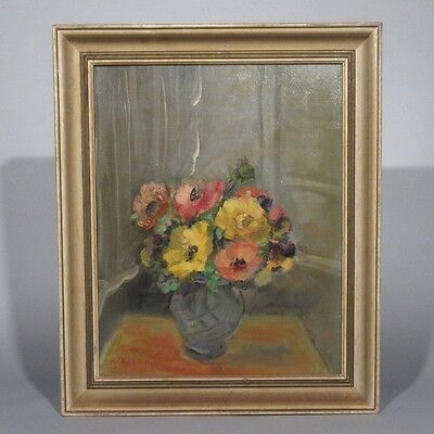 Vintage French Scandinavian Oil Painting, Bouquet of Flowers, Signed Biørn, 1966
