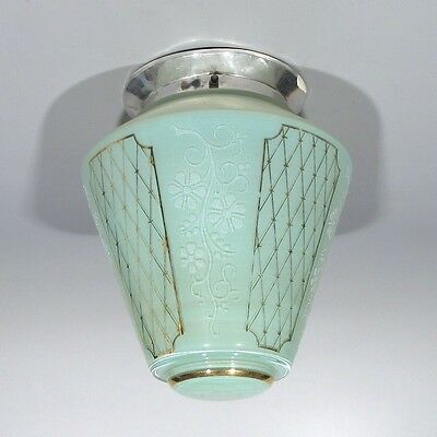Vintage French Art Deco Ceiling Fixture Chandelier Aquamarine Gilded Glass Shade