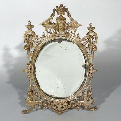 Antique French Mirror, Goddess and Chimera, Neoclassic, Beveled, 19th century