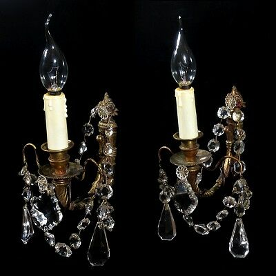 Pair of Antique French Bronze Sconces with Pendeloque Crystal Prisms, Stamped