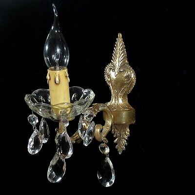 Vintage French Bronze Sconce with Crystal Bobeche and Pendeloque Prisms