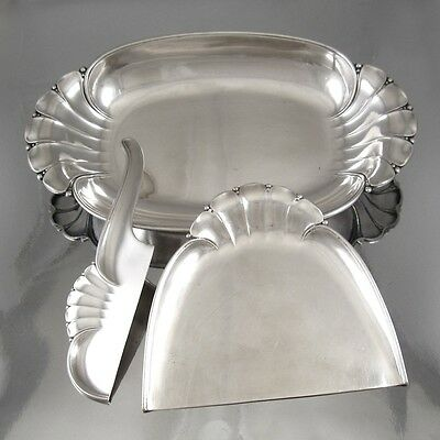 Antique French Art Nouveau Silverplate Christofle Gallia Bread Tray & Crumb Set