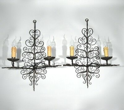 Large Vintage French Wrought Iron Sconces Spanish Style Andalusia French Riviera