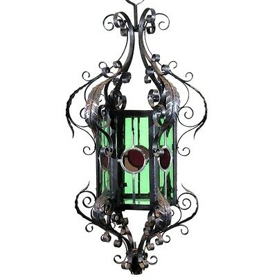 Antique French Wrought Iron Chandelier Lantern Green & Red Colored Stained Glass