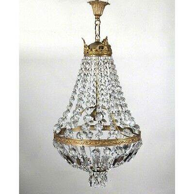 Authentic Vintage Authentic French Bronze & Crystal Prisms Bag/Basket Chandelier • CAD $879.59