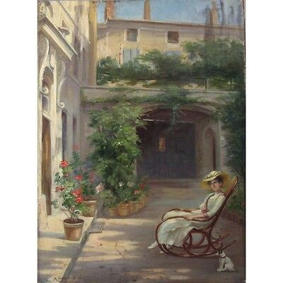 Moulin-Dumas, Portrait, Lady, Dog, Jack Russell, 1922FrenchOilPainting Signed