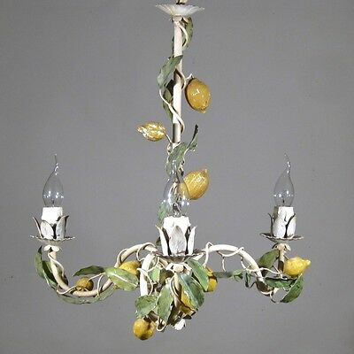 Vintage French Tole Toleware Chandelier, Lemon Design