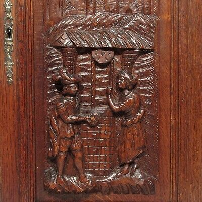 Antique French Hand Carved Wooden Panel, Courting Scene Chateau, Neo-Renaissance
