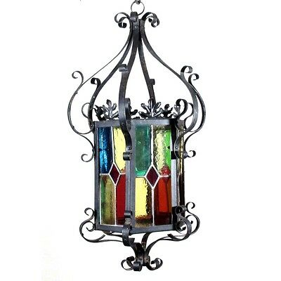 Antique French Wrought Iron Chandelier, Lantern, Multicolor Stained Glass