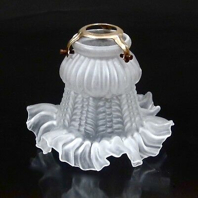 Vintage French Frosted Glass Lamp / Ceiling Shade, Ruffled Edges, Hardware