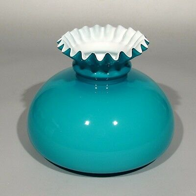 Vintage French Turquoise Blue Opaline Glass Shade, Pleated Edge