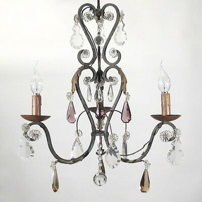 Authentic Old French Bronze & Crystal Chandelier Amethyst & Amber Crystal Prisms