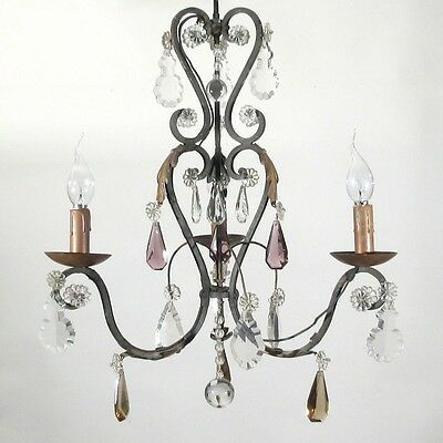 Authentic Old French Wrought Iron Chandelier, Amethyst & Amber Crystal Prisms
