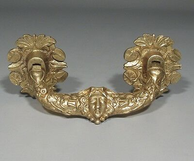 Antique French Gilded Bronze Drawer Pull, Mascaron, Woman's Head, Rococo, Fruits